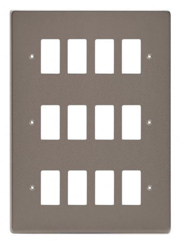 Varilight XDRPG12 PowerGrid Pewter 12 Gang Grid Plate (Triple Twin Plate)